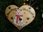 Have a purrfect Christmas Wooden Cat Heart Hanger Decoration Personalised Any Name
